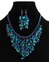 Multi-Strand Necklace and Earring Set in Blue Crystals, Pearls and Glass Beads