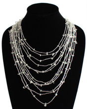 "Cascade Necklace White Crystals 10 Multi-Strands 24"" NE104-206"