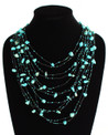"Cascade Necklace Turquoise and Black 10 Strands 24"" NE104-133"