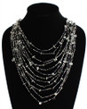 "Cascade Necklace Black and Crystal 24"" NE104-102"