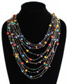 "Cascade Necklace Multicolor Strands 24"" NE104-101"