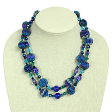 """Blue shades two strand glass crystal fiesta necklace 20"""""""