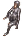 Sitting Chimpanzee Garden Statue Bronze Color Recycled Aluminum Art