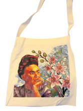 """Frida Kahlo Flowers Canvas Tote 14"""" x 16"""" with 30"""" Handle Strap"""