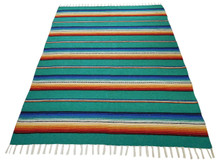 Sarape Cotton Heavy Weave Blanket Teal Striped Mexico Premium Quality