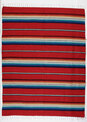 Sarape Cotton Heavy Weave Blanket Red Striped Mexico Premium Quality