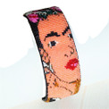 "Frida Magnetic Bracelet Hand Made in Fine Czech Crystal Beads 2.5"" Wide (Light Color)  BR709"