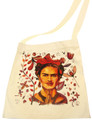 Frida Kahlo Feminist Icon Mexico's Renowned Artist Tote Canvas Bag Hand Printed