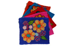 Wool Embroidered Coin Purse 3 in x 4 in with Zipper