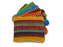 Hand Loomed Coin Purse Wool Striped with Zipper