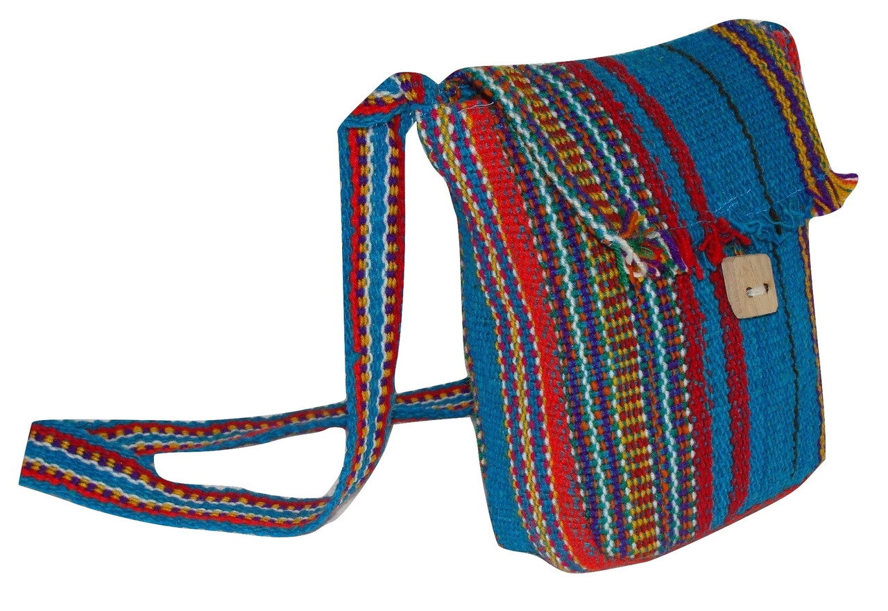 Striped Wool Purse Tote Bag School Pouch Hand Woven 10x12 Fair