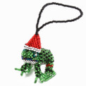 Christmas Santa Frog Ornament Guatemala Glass Beads