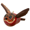 Gourd Flying Owl Carved Ornament 4""