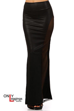 Leather Mesh Maxi Skirt