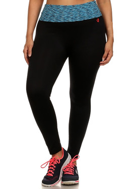 Blue Heather Waist Sport Leggings - Plus Size
