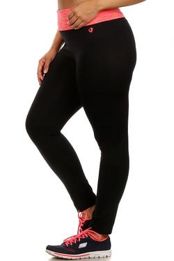 Coral Heather Waist Sport Leggings - Plus Size
