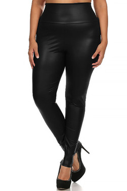 Matte High Waisted Faux Leather Leggings - Plus Size
