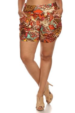 Desert Paradise Paisley Harem Shorts - Plus Size