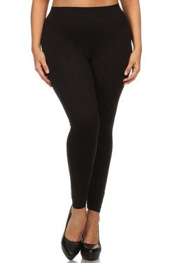 Full Length Nylon Spandex Leggings - Plus Size