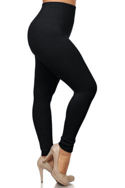 Banded High Waist Fleece Lined Leggings - Plus Size