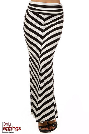 Wide Stripe Rayon Maxi Skirt
