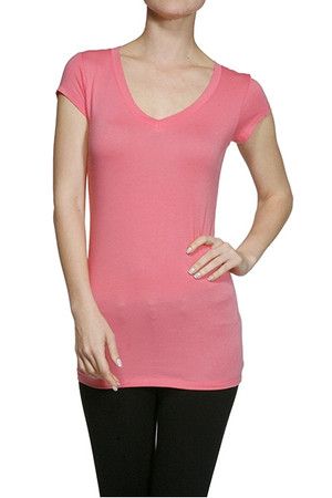 Plus Size Short Sleeve V Neck T Shirt