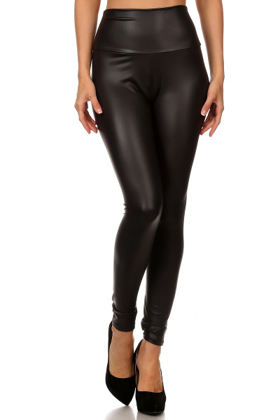 Matte High Waisted Faux Leather leggings | OnlyLeggings.com