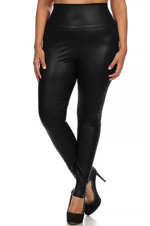 Matte High Waisted Black Faux Leather Plus Size Leggings