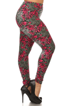 Fuchsia Hypnotic Swirl Leggings - Plus Size