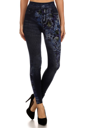 Blue Rose Faux Denim Leggings