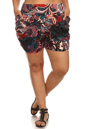 Moody Paisley Plus Size Harem Shorts