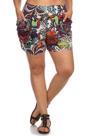 Vibrant Paisley Plus Size Harem Shorts