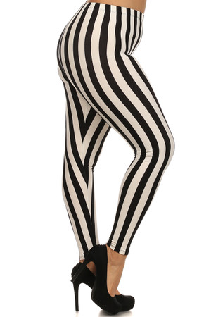 Black and White Vertical Striped Leggings - Plus Size