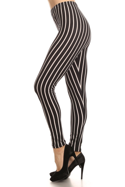 Vertical Black on White Stripes Leggings