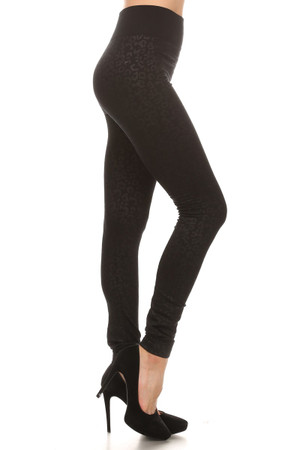 Leopard Embossed Fleece Lined Leggings