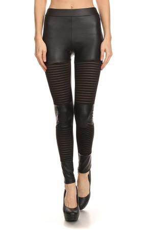 Striped Mesh Faux Leather Leggings
