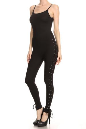 Black Sexy Lace Up Jumpsuit
