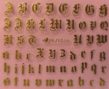 Old English Letter Nail Stickers (Gold)