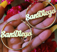 "CUSTOM 14K Gold Nameplate Hoop Earrings 2"" (Up to 9 letters)"