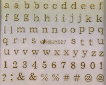Alphabet & Numbers Nail Stickers (Gold)