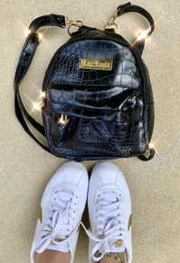 Lux Rosa Snakeskin Mini Backpack (Black) PRE-ORDER