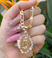 Keep Glowing Virgencita Figaro Necklace 26""