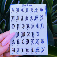 Lux Rosa Old English Alphabet Nail Stickers (Large)