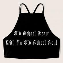 Old School Heart Lace Up Black Crop Tank