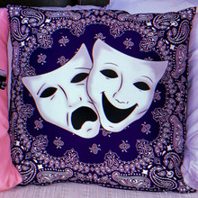 Smile Now, Cry Later Blue Bandana Square Pillow