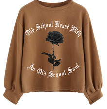 Old School Heart With An Old School Soul Lantern Sleeve Sweater