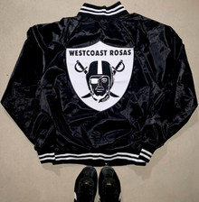 Limited Edition Westcoast Rosas Satin Team Varsity Jacket (black/white) PRE-ORDER