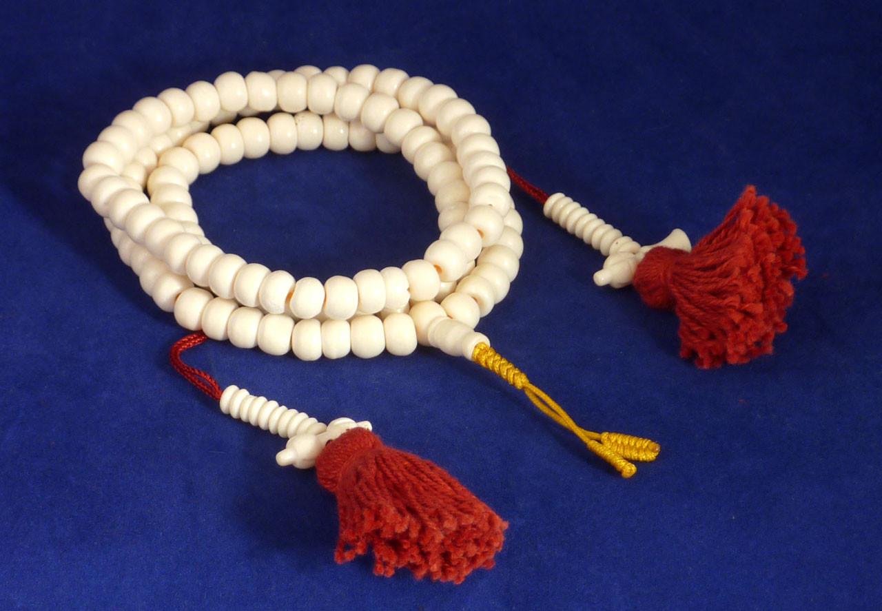 8mm Bone Mala With Carved Bone Counters Dharma Treasures