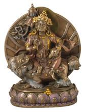 White Dzambhala Bronze Finish Resin Statue