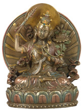 Manjushri Bronze Finish Resin Statue
